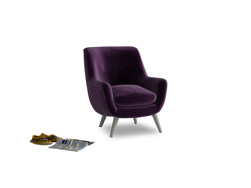 Berlin Armchair in Deep Purple Clever Deep Velvet