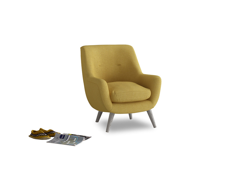 Berlin Armchair in Easy Yellow Clever Woolly Fabric