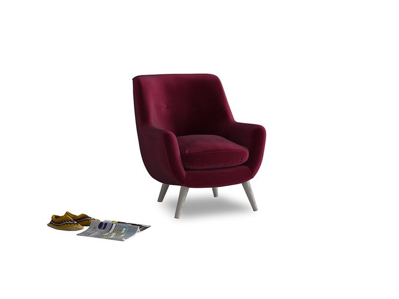 Berlin Armchair in Merlot Plush Velvet