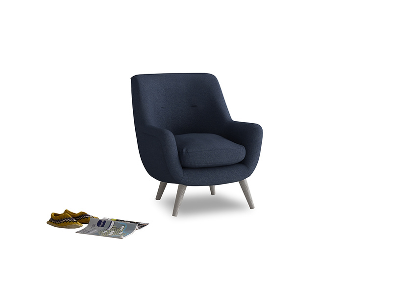 Berlin Armchair in Night Owl Blue Clever Woolly Fabric