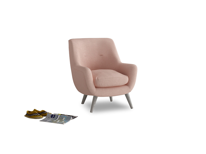 Berlin Armchair in Pale Pink Clever Woolly Fabric