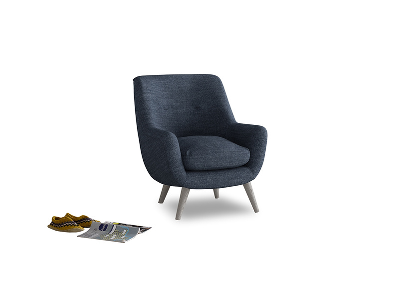 Berlin Armchair in Selvedge Blue Clever Laundered Linen