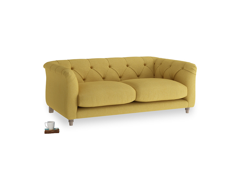 Small Boho Sofa in Easy Yellow Clever Woolly Fabric