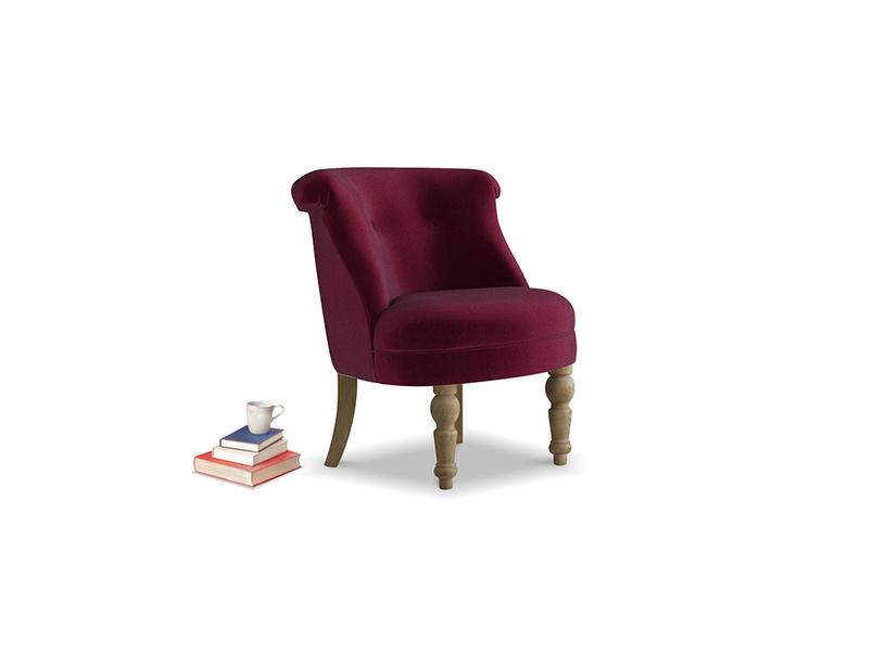 Bovary Armchair in Merlot Plush Velvet