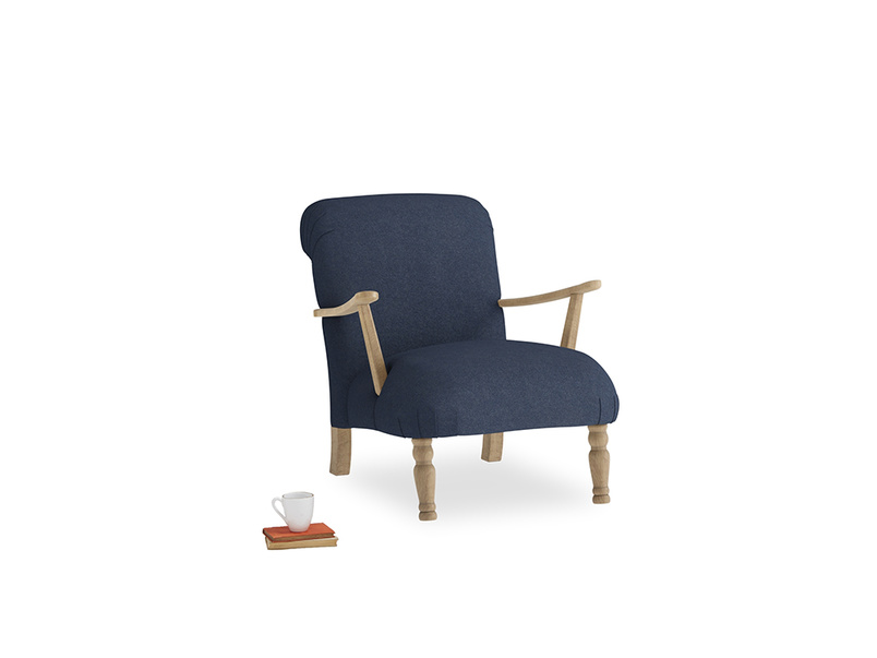 Brew Armchair in Night Owl Blue Clever Woolly Fabric