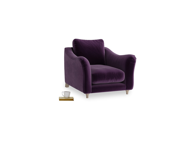 Bumpster Armchair in Deep Purple Clever Deep Velvet