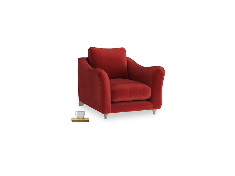 Bumpster Armchair in Rusted Ruby Vintage Velvet