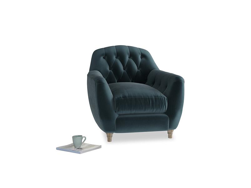 Butterbump Armchair in Bluey Grey Clever Deep Velvet