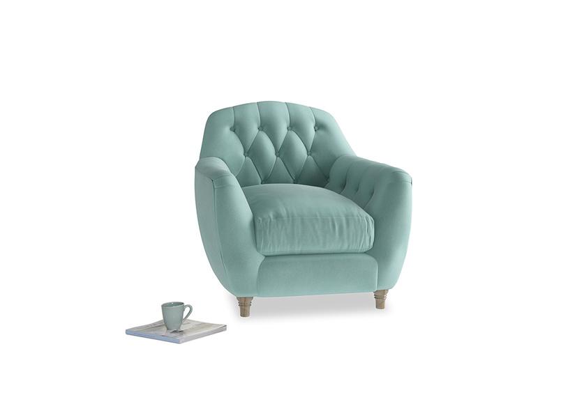 Butterbump Armchair in Greeny Blue Clever Deep Velvet