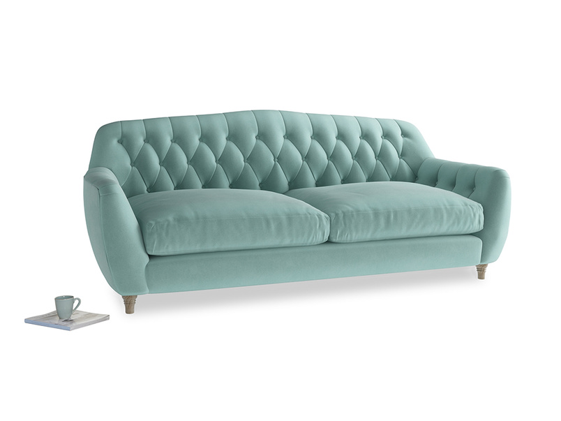 Large Butterbump Sofa in Greeny Blue Clever Deep Velvet