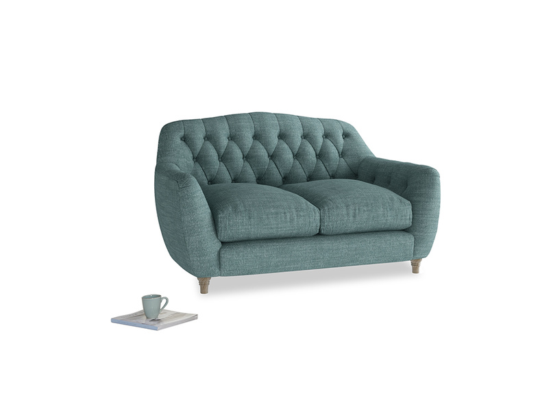 Small Butterbump Sofa in Blue Turtle Clever Laundered Linen