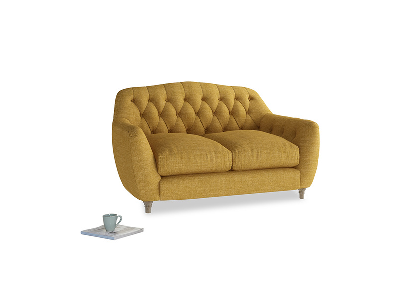 Small Butterbump Sofa in Mellow Yellow Clever Laundered Linen
