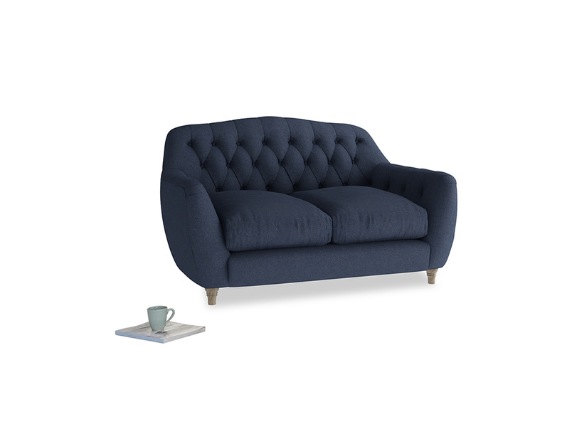 Small Butterbump Sofa in Night Owl Blue Clever Woolly Fabric