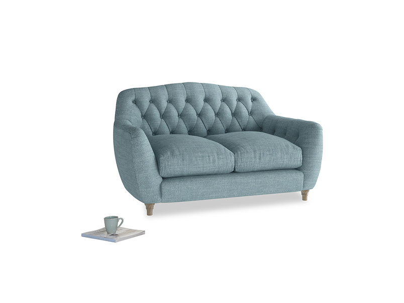 Small Butterbump Sofa in Soft Blue Clever Laundered Linen
