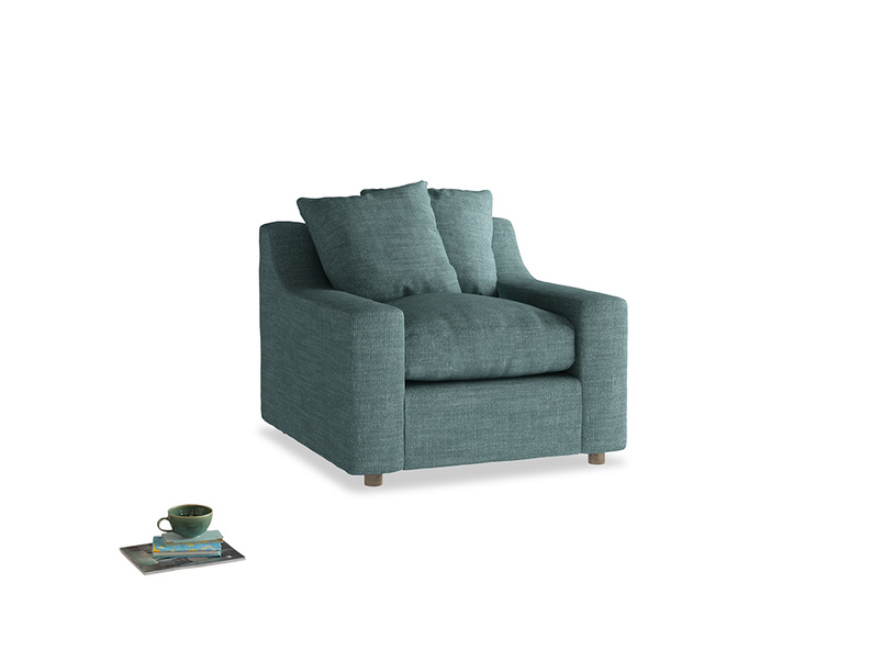 Cloud Armchair in Blue Turtle Laundered Linen