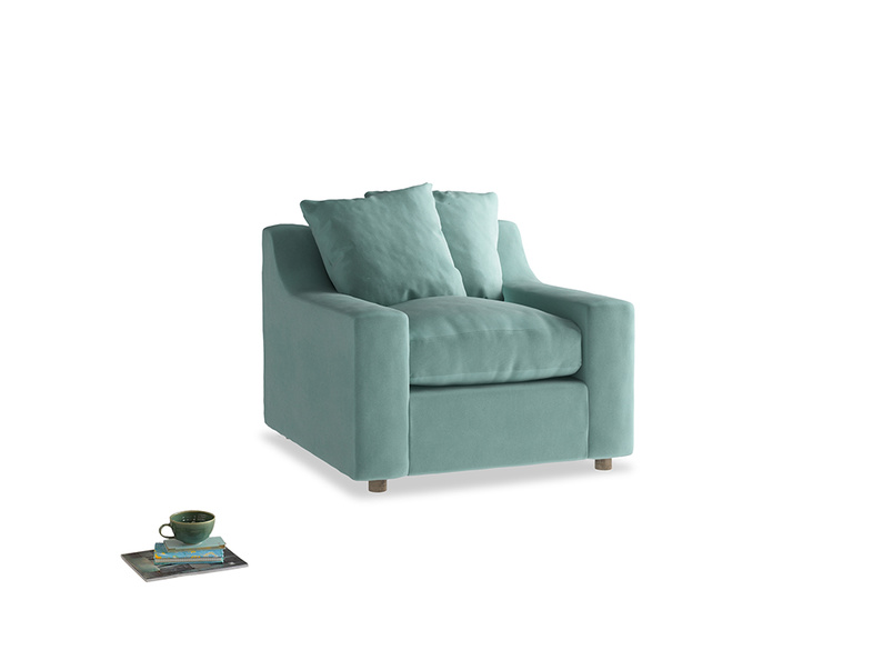 Cloud Armchair in Greeny Blue Clever Deep Velvet