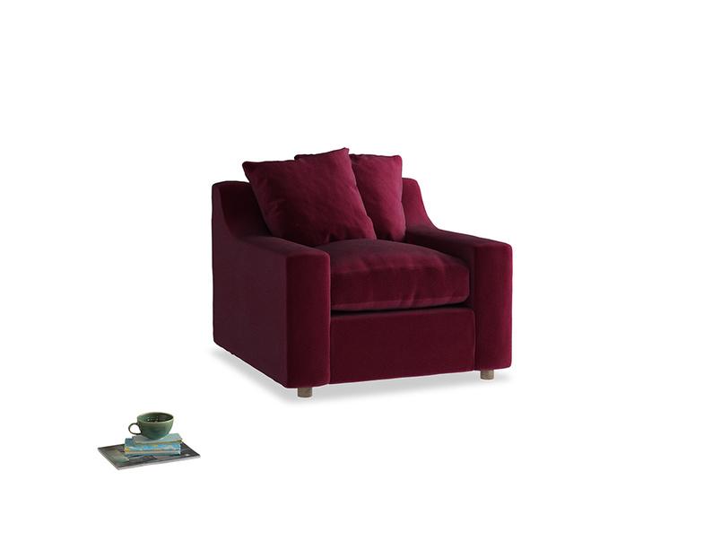 Cloud Armchair in Merlot Plush Velvet