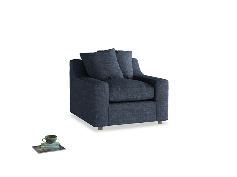 Cloud Armchair in Selvedge Blue Laundered Linen