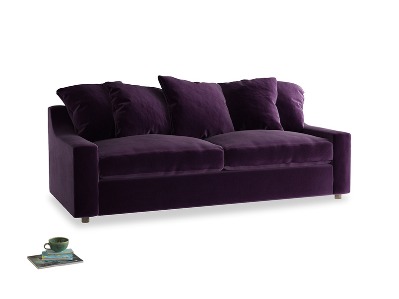 Large Cloud Sofa in Deep Purple Clever Deep Velvet