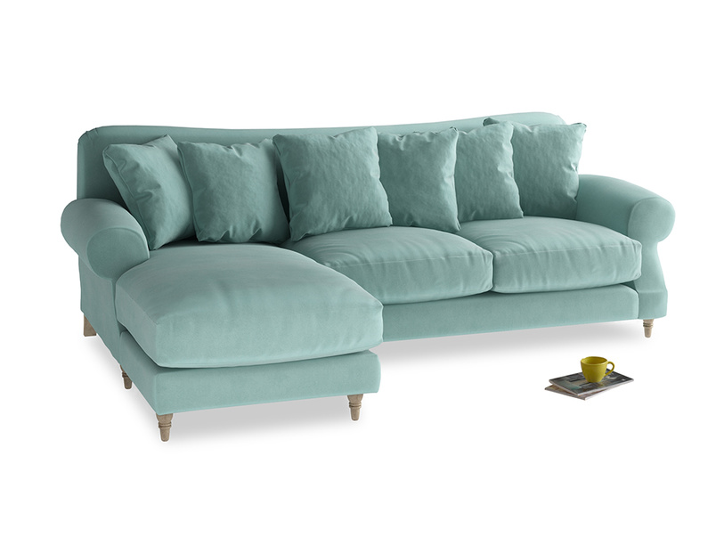 XL Left Hand  Crumpet Chaise Sofa in Greeny Blue Clever Deep Velvet