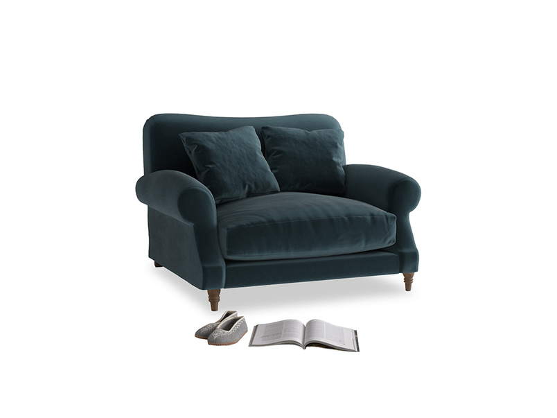Crumpet Love seat in Bluey Grey Clever Deep Velvet