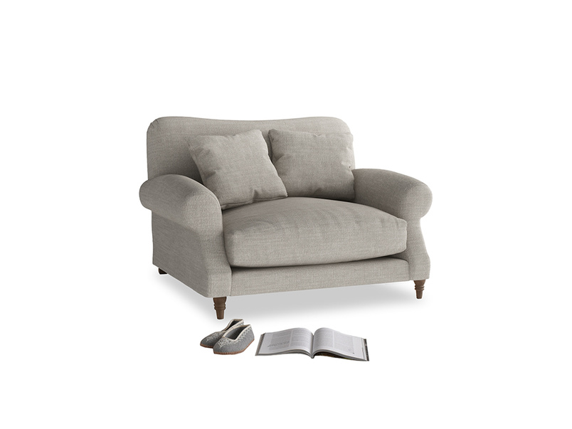 Crumpet Love seat in Grey Daybreak Clever Laundered Linen