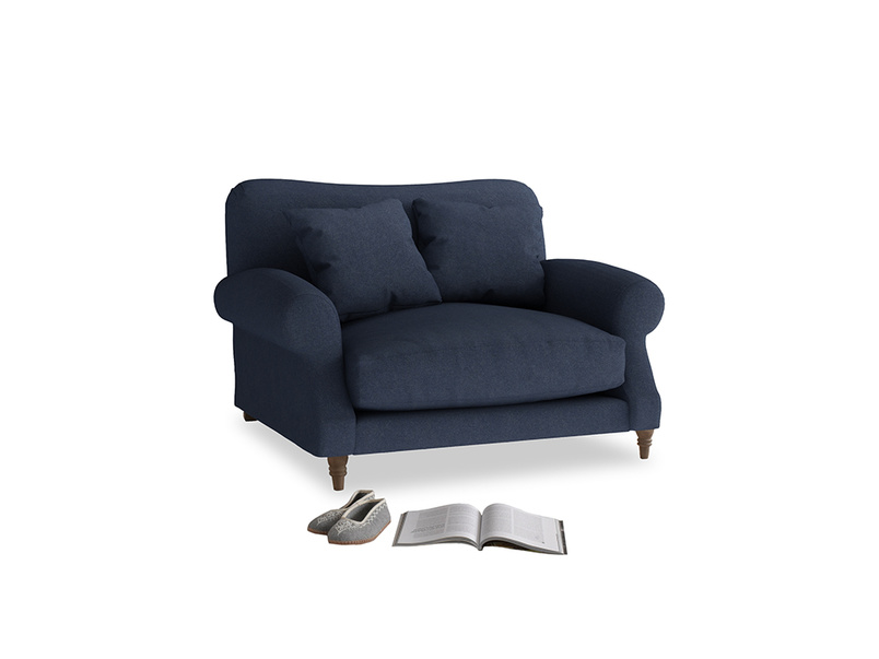 Crumpet Love seat in Night Owl Blue Clever Woolly Fabric