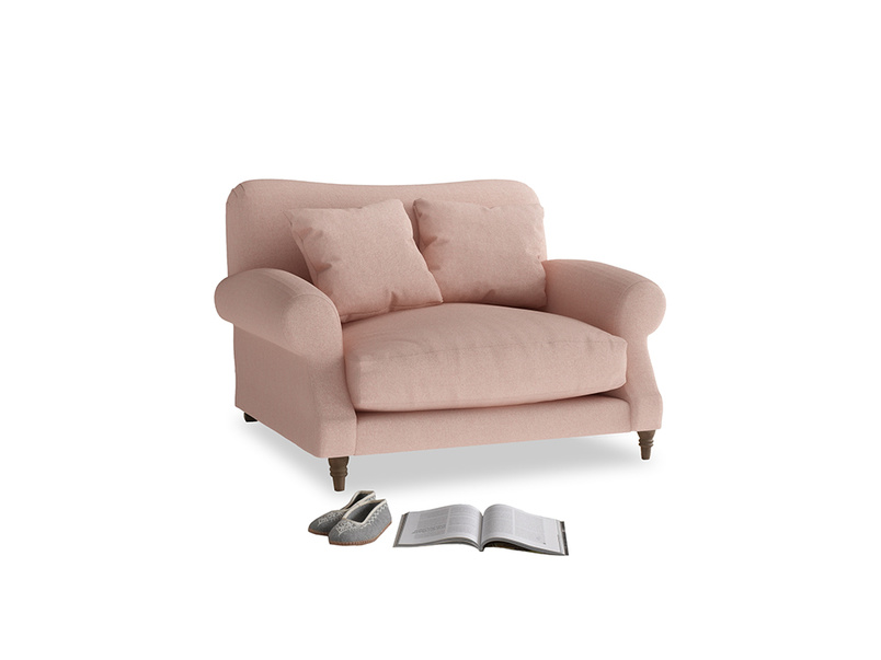 Crumpet Love seat in Pale Pink Clever Woolly Fabric