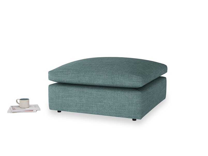 Cuddlemuffin Footstool in Blue Turtle Clever Laundered Linen