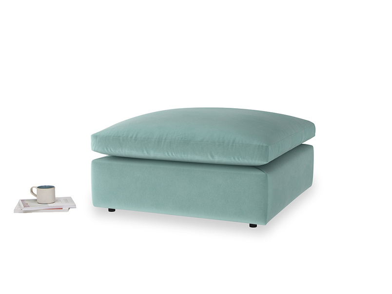 Cuddlemuffin Footstool in Greeny Blue Clever Deep Velvet