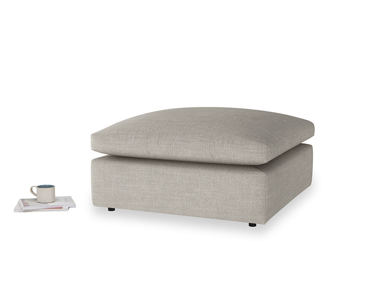 Cuddlemuffin Footstool in Grey Daybreak Clever Laundered Linen