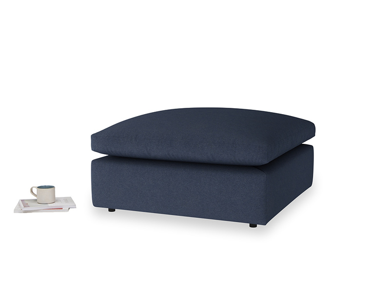Cuddlemuffin Footstool in Night Owl Blue Clever Woolly Fabric