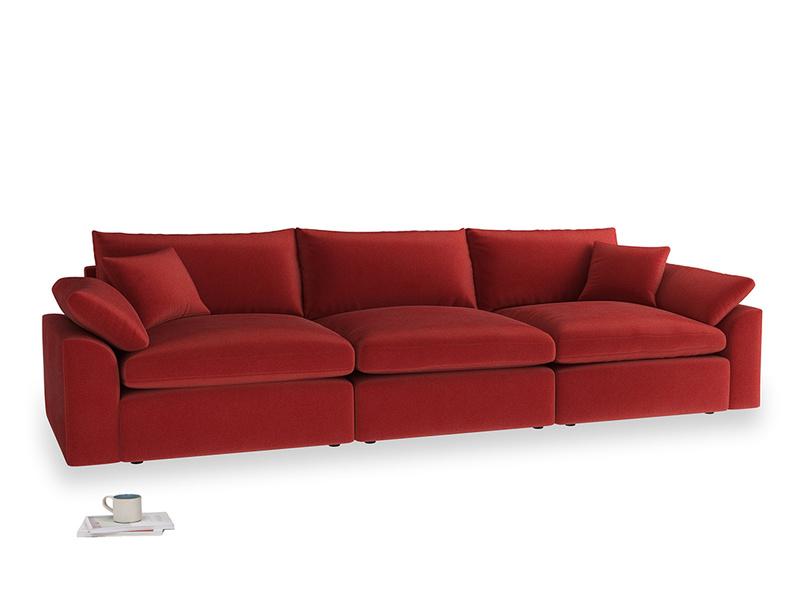 Large Cuddlemuffin Modular sofa in Rusted Ruby Vintage Velvet