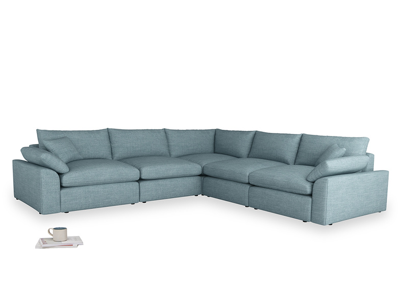 Even Sided Cuddlemuffin Modular Corner Sofa in Soft Blue Clever Laundered Linen