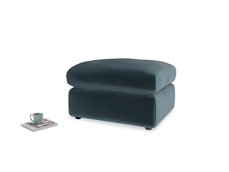 Chatnap Storage Footstool in Bluey Grey Clever Deep Velvet