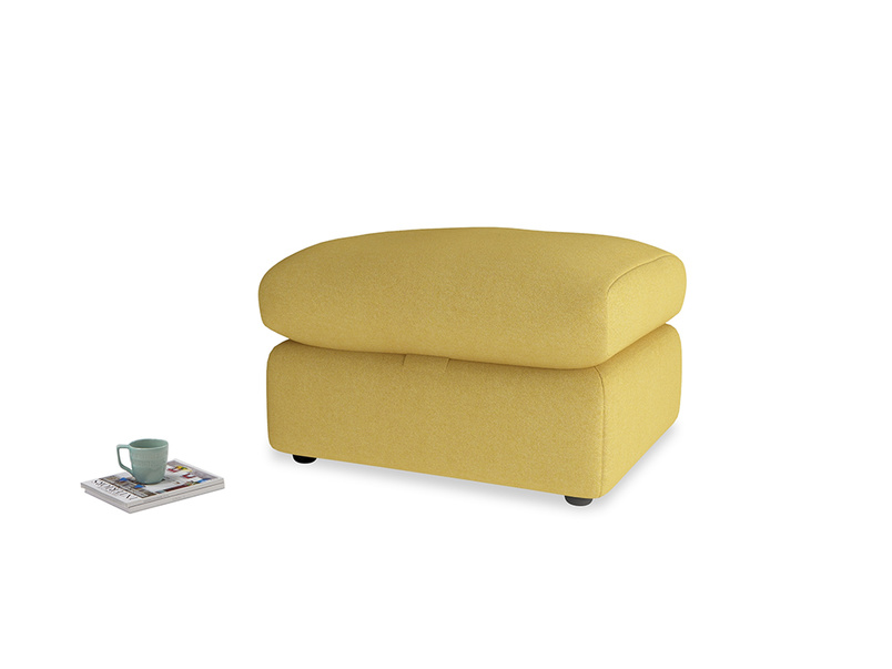 Chatnap Storage Footstool in Easy Yellow Clever Woolly Fabric