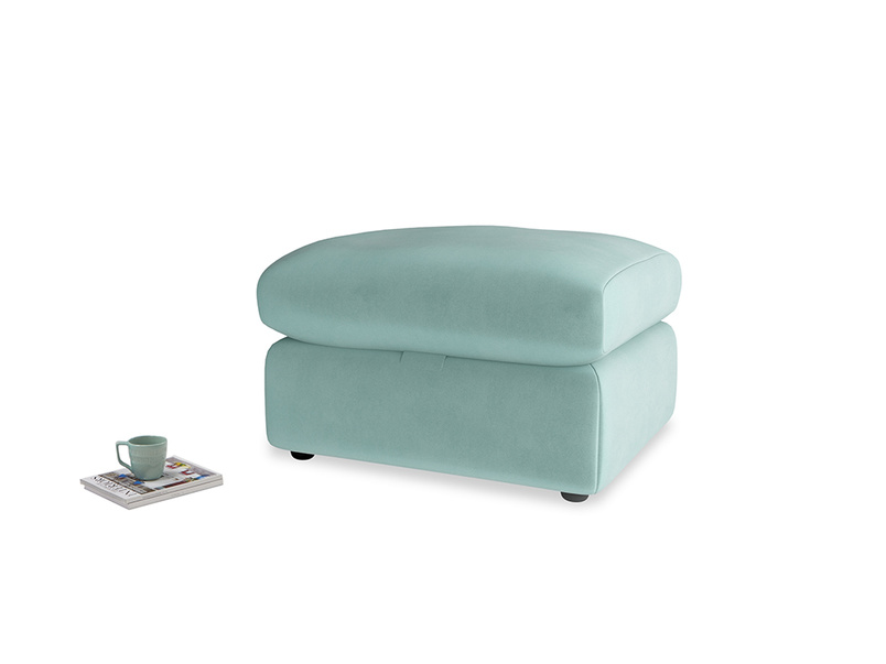 Chatnap Storage Footstool in Greeny Blue Clever Deep Velvet
