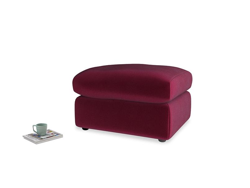 Chatnap Storage Footstool in Merlot Plush Velvet