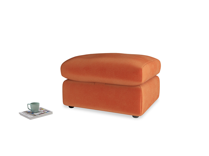 Chatnap Storage Footstool in Old Orange Clever Deep Velvet