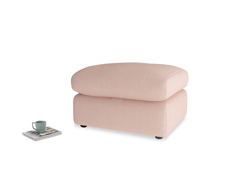 Chatnap Storage Footstool in Pale Pink Clever Woolly Fabric