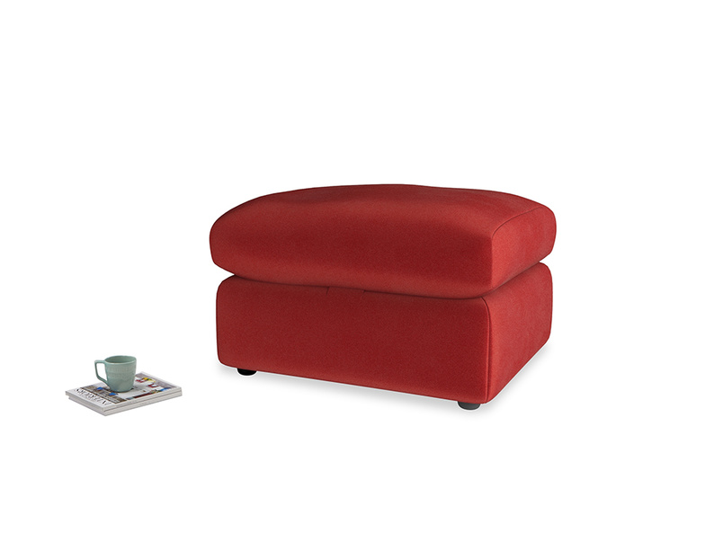 Chatnap Storage Footstool in Rusted Ruby Vintage Velvet