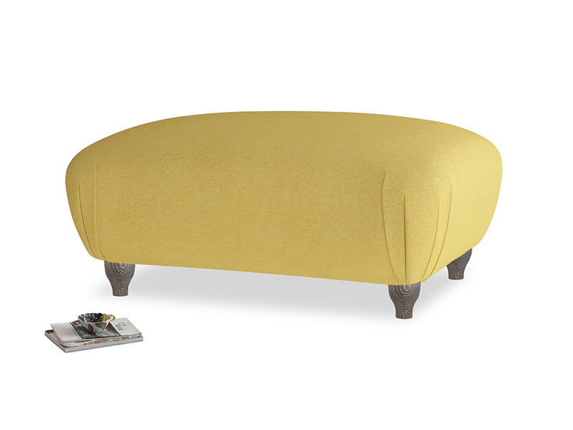 Rectangle Homebody Footstool in Easy Yellow Clever Woolly Fabric