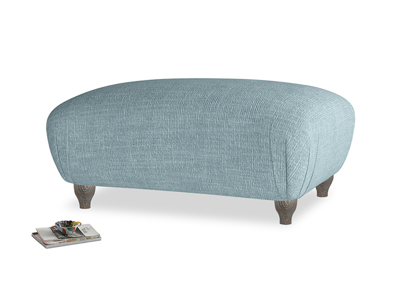 Rectangle Homebody Footstool in Soft Blue Laundered Linen