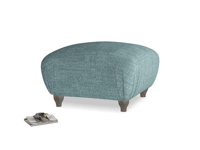 Small Square Homebody Footstool in Blue Turtle Clever Laundered Linen