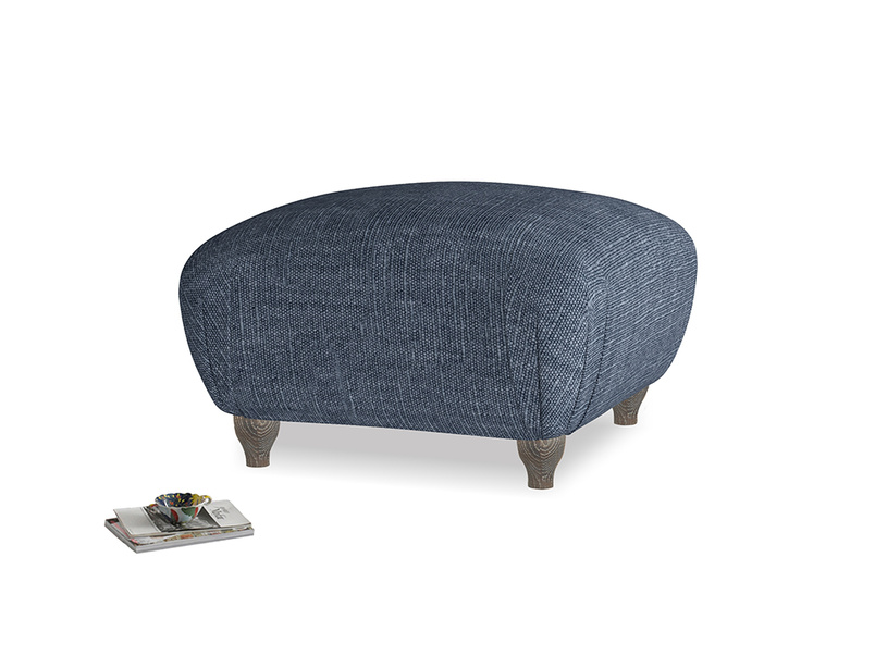 Small Square Homebody Footstool in Selvedge Blue Clever Laundered Linen