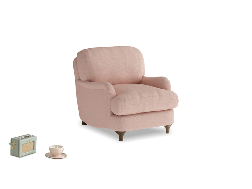 Jonesy Armchair in Pale Pink Clever Woolly Fabric