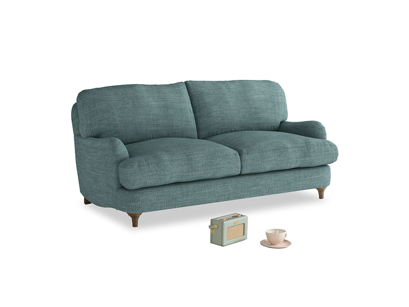 Small Jonesy Sofa in Blue Turtle Clever Laundered Linen