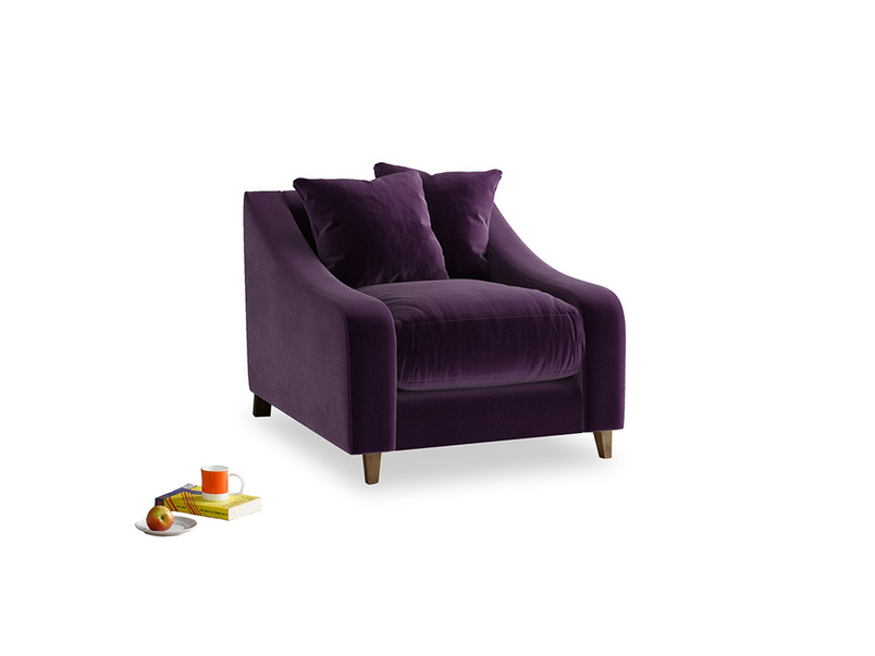 Oscar Armchair in Deep Purple Clever Deep Velvet