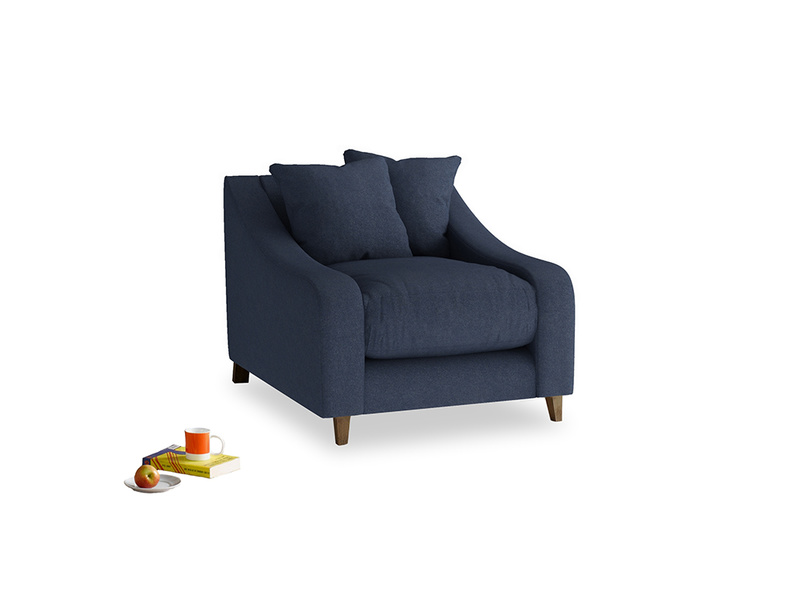 Oscar Armchair in Night Owl Blue Clever Woolly Fabric