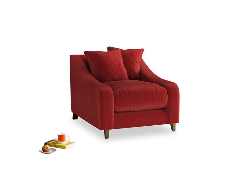Oscar Armchair in Rusted Ruby Vintage Velvet